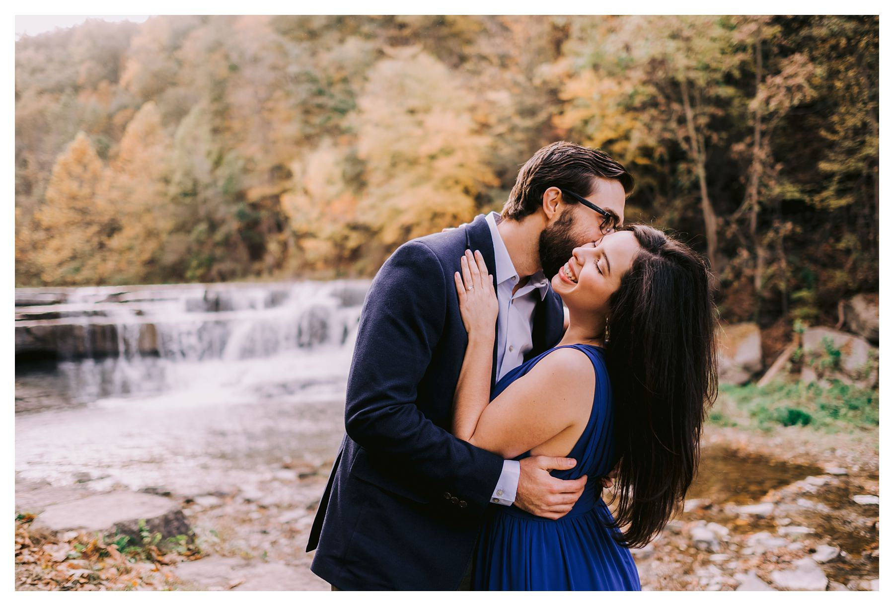 taughannock falls engagement session kissing cheek