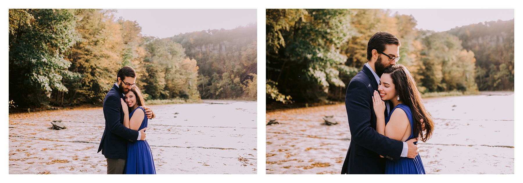 taughannock falls engagement session couple hugging