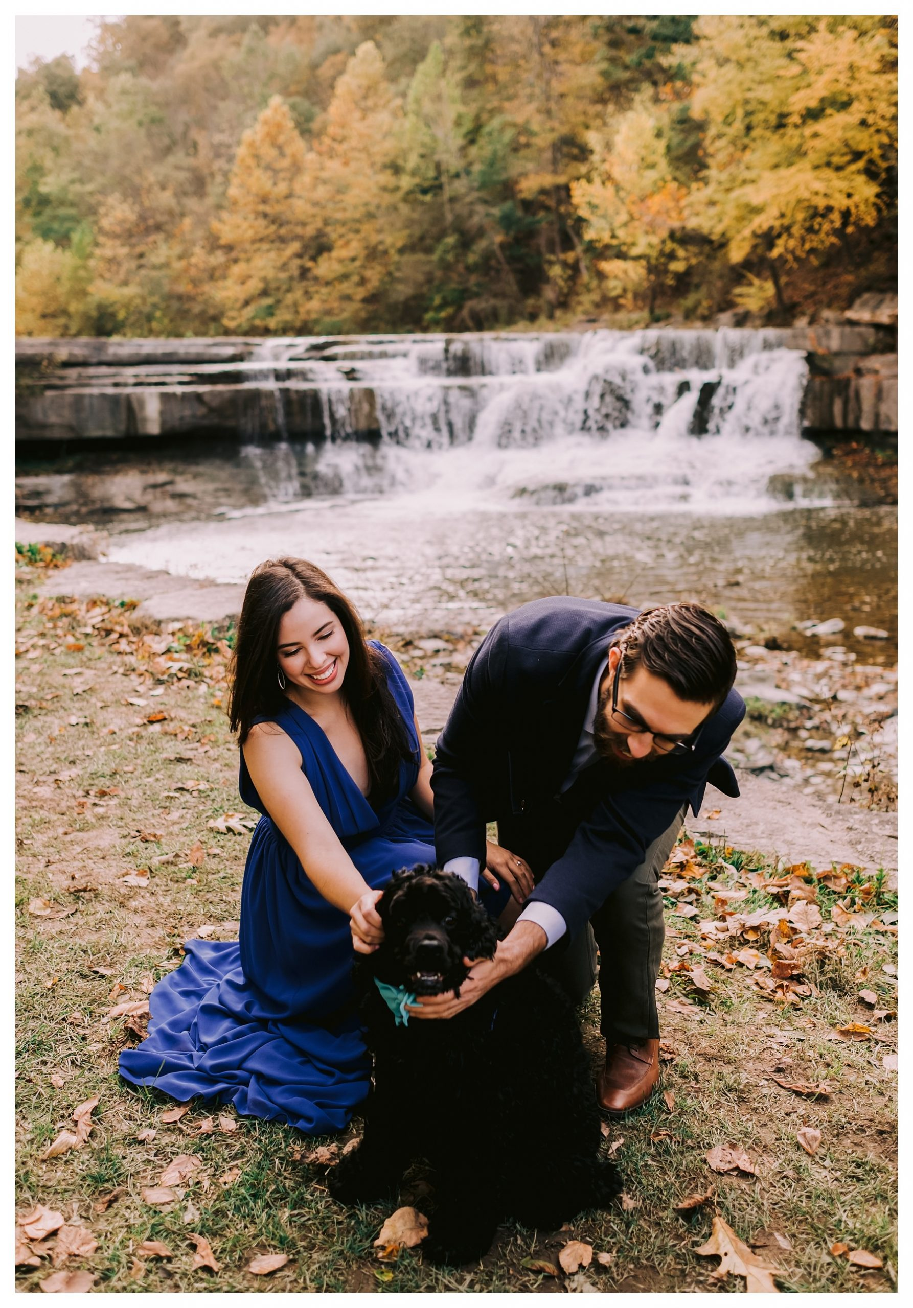 taughannock falls engagement session with dog